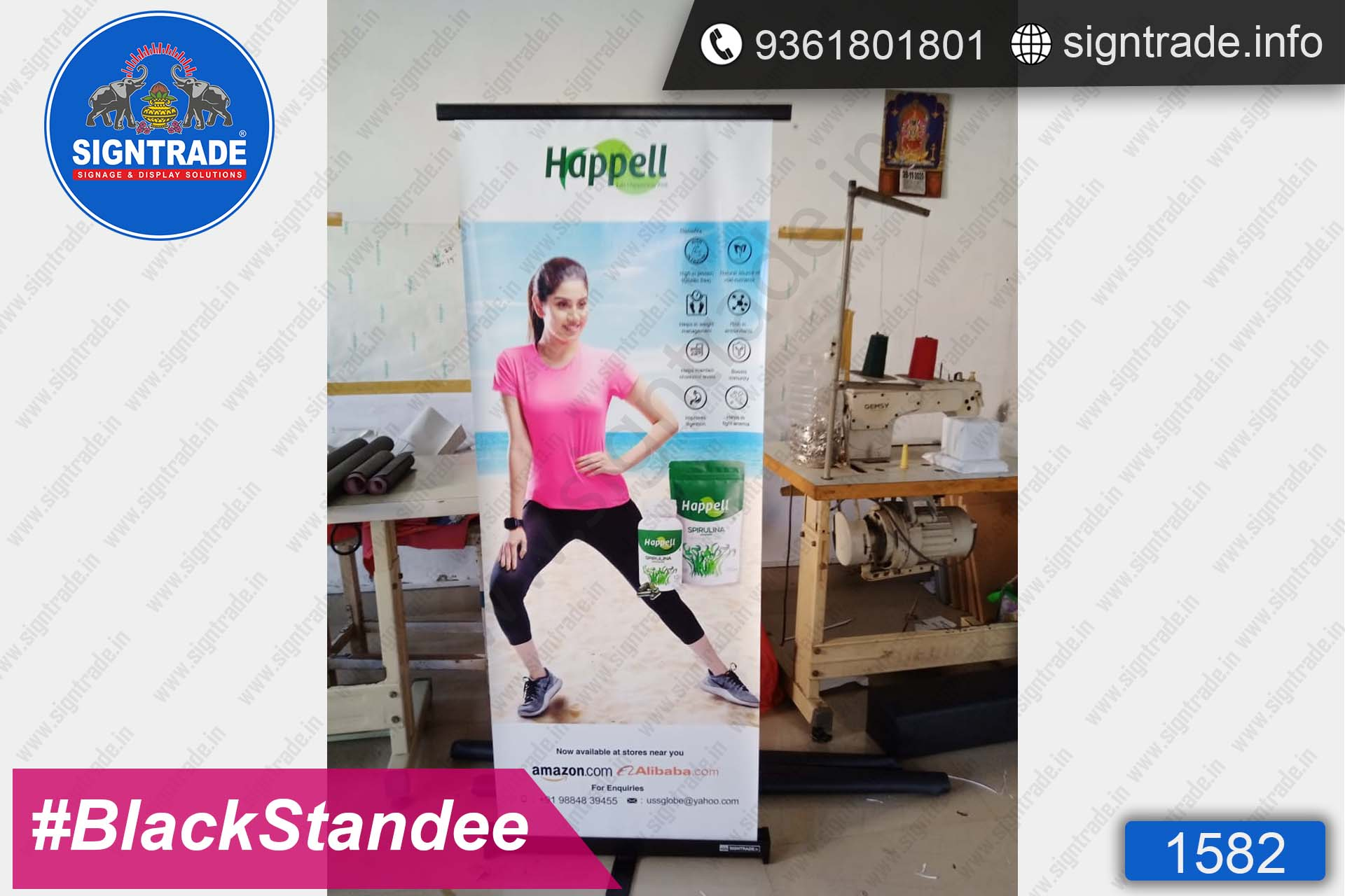 Happell - SIGNTRADE - Black Roll Up Banner Stand Manufacturers in Chennai