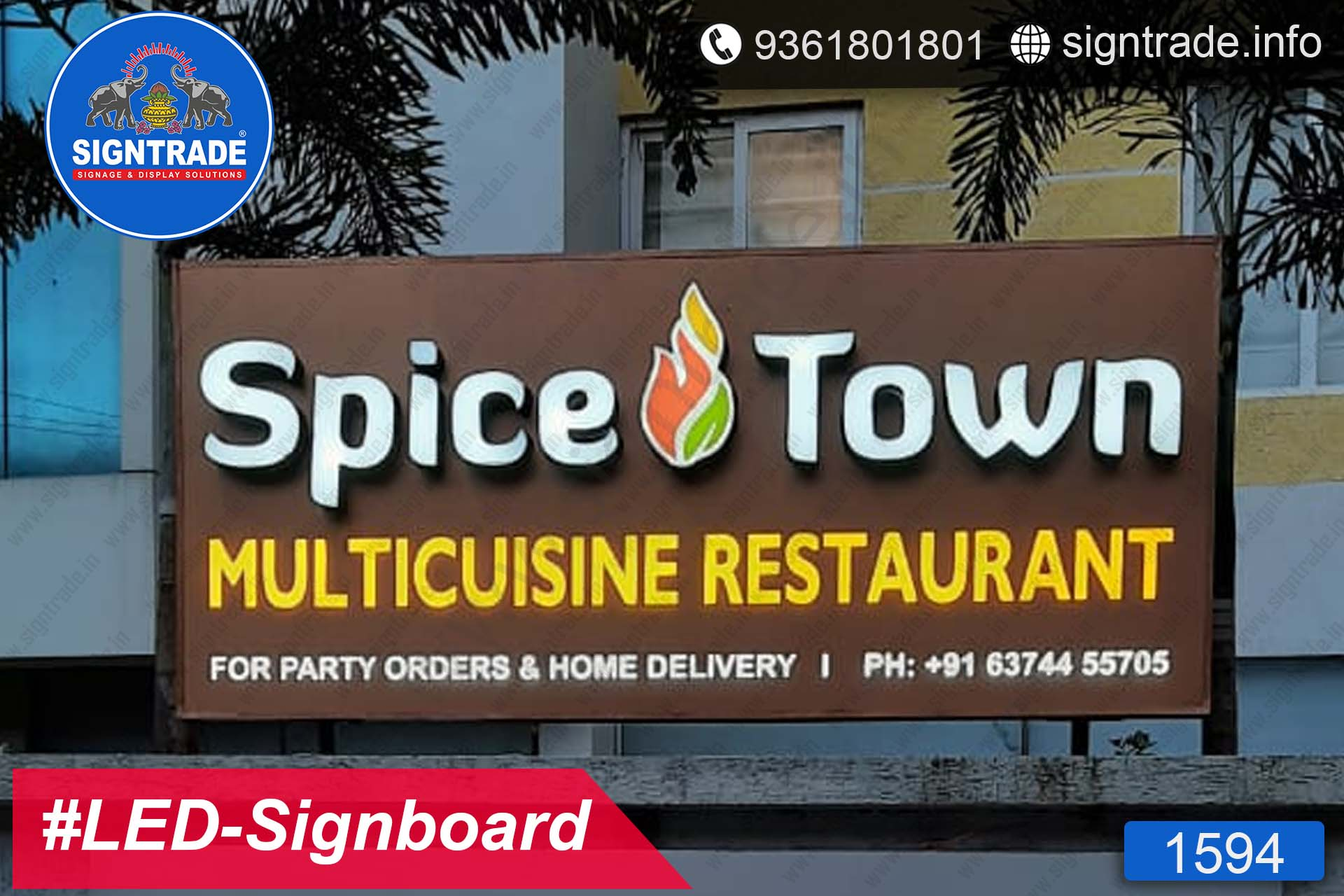 Spicetown Multicuisine Restaurant, Chennai - SIGNTRADE - Acrylic, LED Sign Board Manufacturers in Chennai