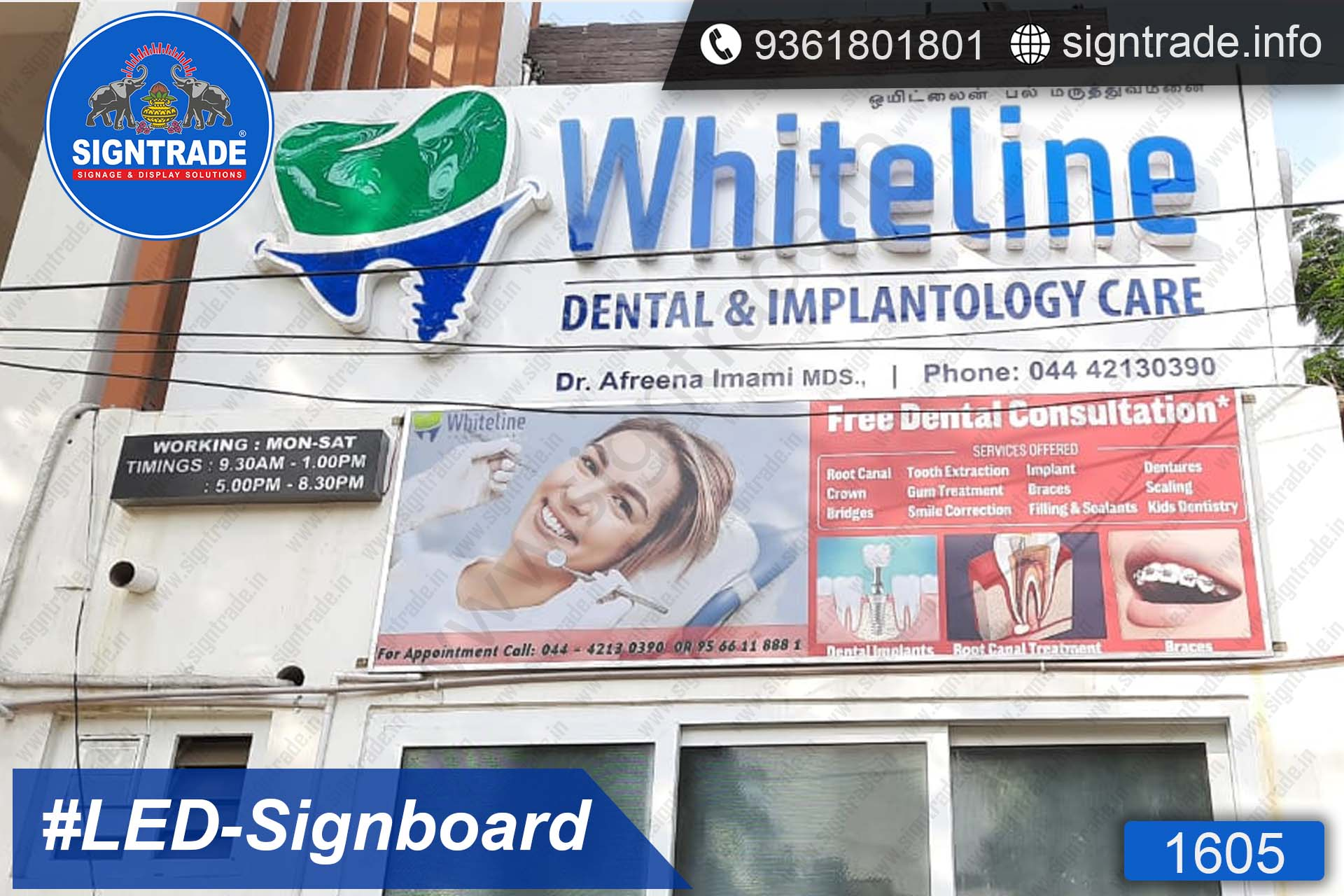 Whiteline Dental Care, Anna nagar, Chennai - SIGNTRADE - LED Sign Board Manufacturers in Chennai