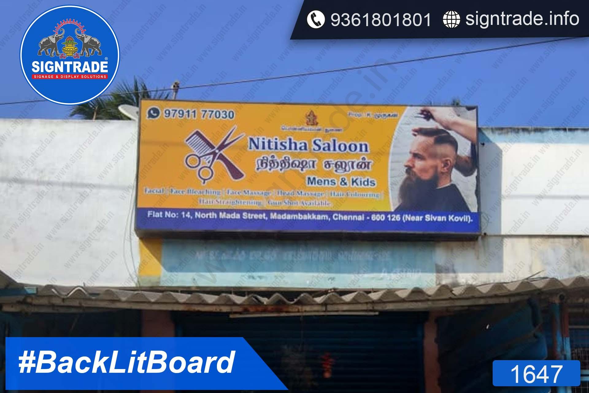 Nithisha Saloon, Madambakkam, Chennai - SIGNTRADE - Backlit Board Manufacturers in Chennai