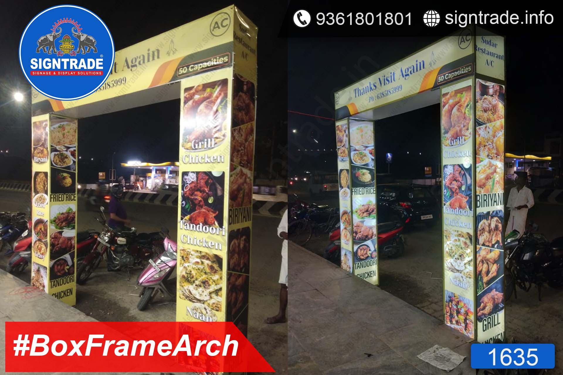 Sudar Restaurant, Chennai - SIGNTRADE - Backlit Entrance Arch Manufacturers in Chennai
