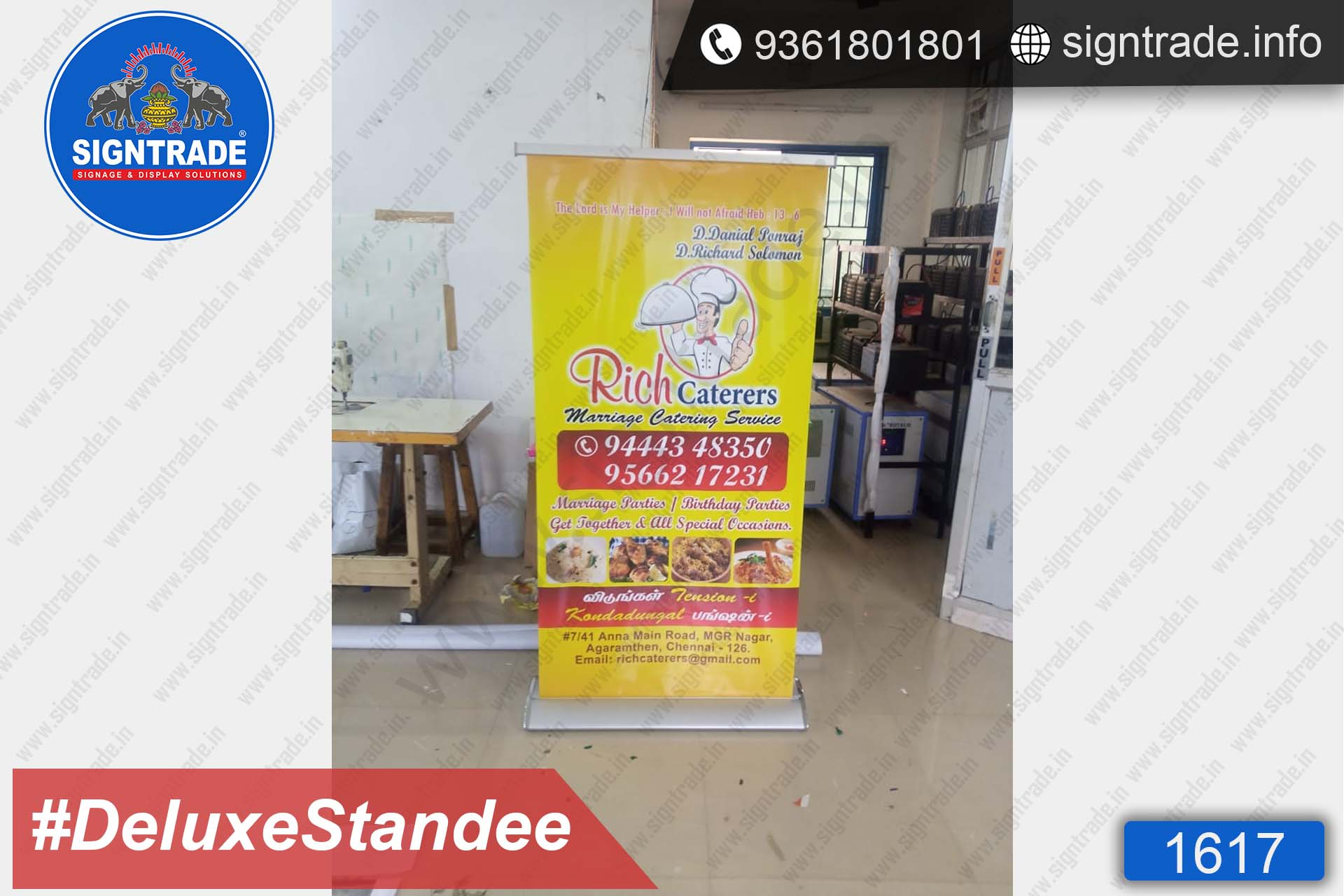 Rich Caterers - Deluxe Rollup Banner Stand - SIGNTRADE - Deluxe Rollup Banner Stand Manufactures in Chennai