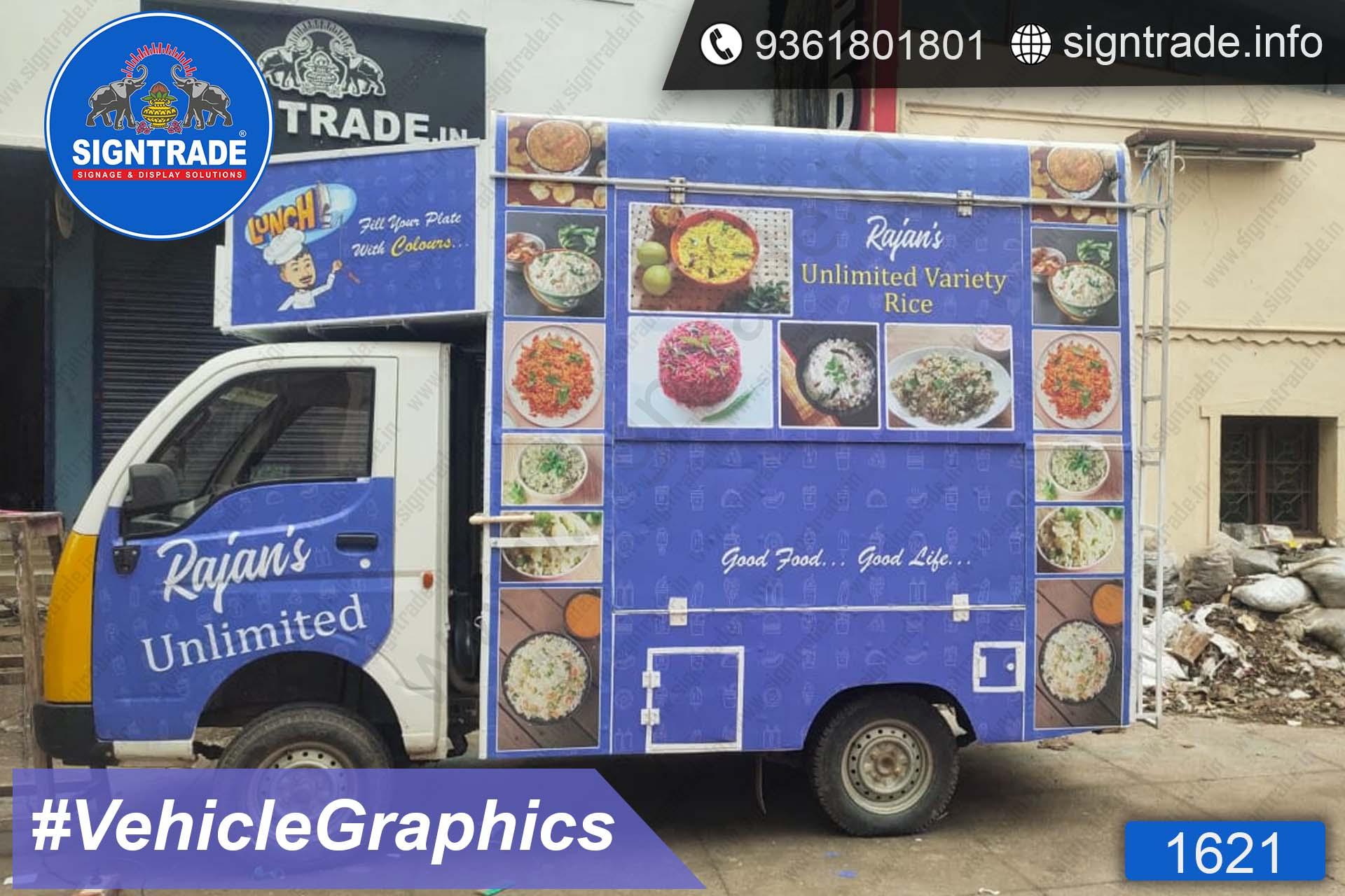 Rajan's Unlimited Variety Rice - Van Graphics - SIGNTRADE - Vinyl Printing, Van Graphics in Service in Chennai