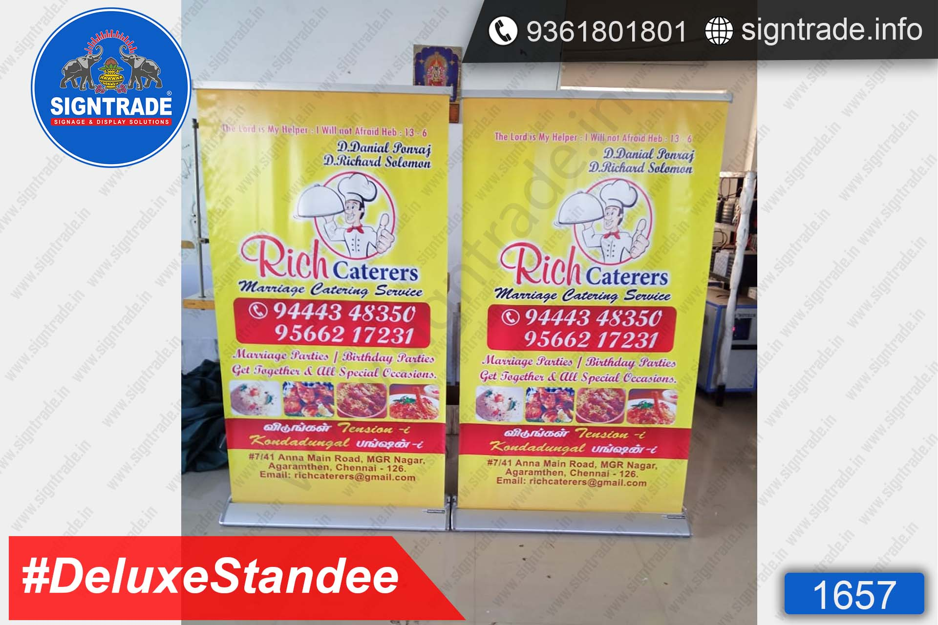 Rich Caterers - Deluxe Rollup Banner Stand - SIGNTRADE - Rollup Banner Stand Manufactures in Chennai