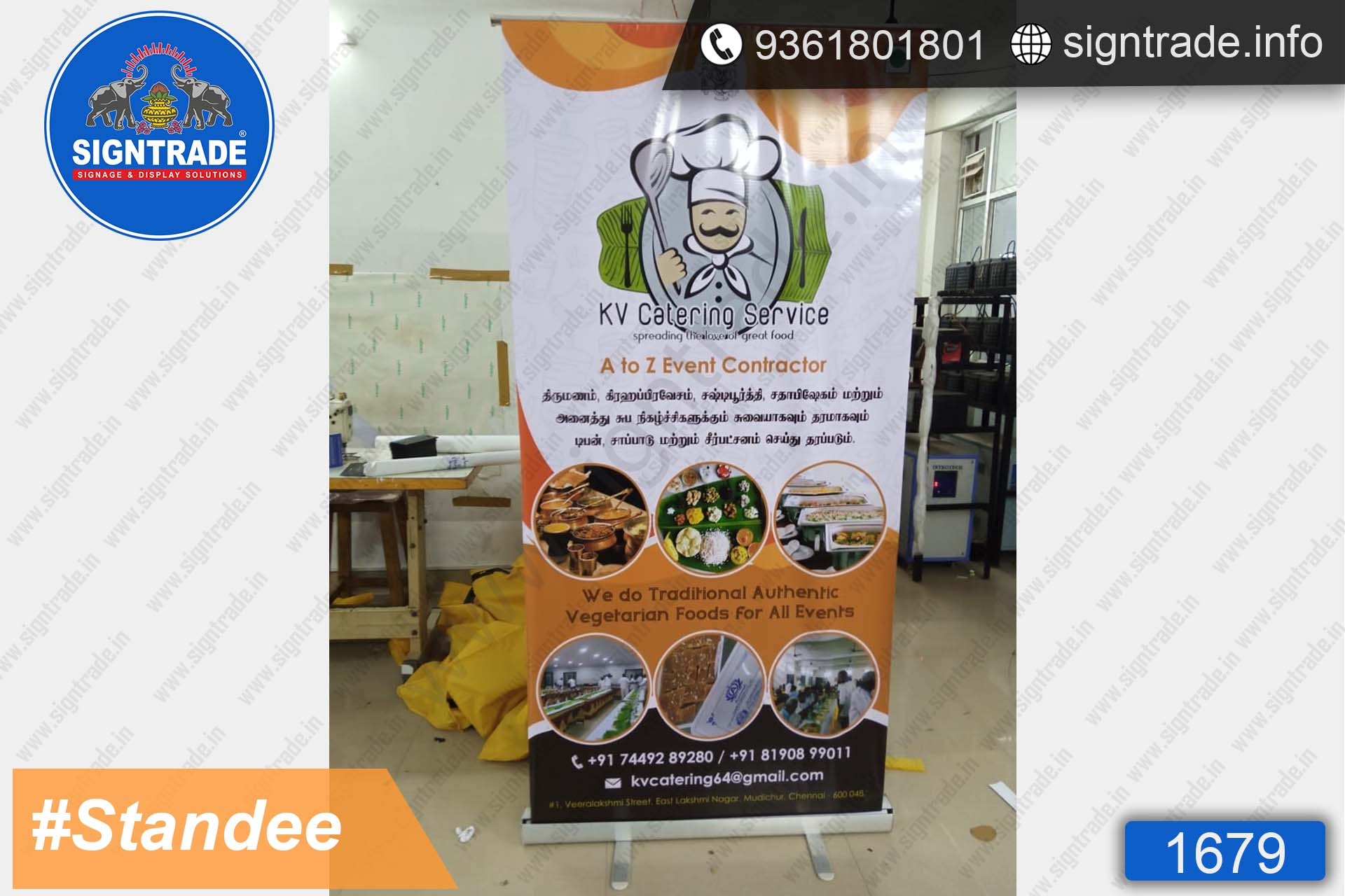 K V Catering, Chennai - Banner Stand - SIGNTRADE - Rollup Banner Stand Manufactures in Chennai