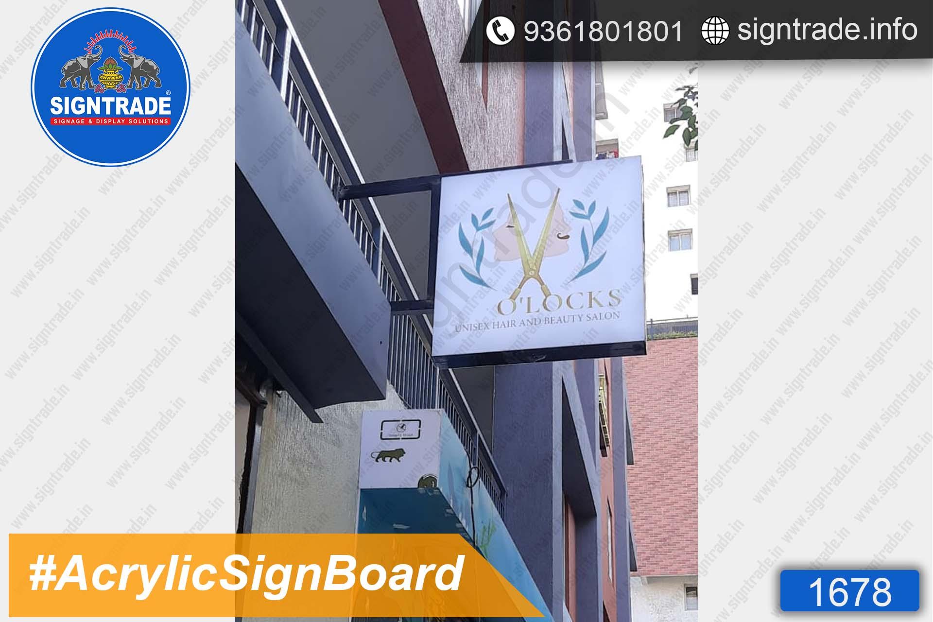 O Locks Unisex Salon and Spa, Chennai - SIGNTRADE - Acrylic LED Sign Board Manufacturers in Chennai
