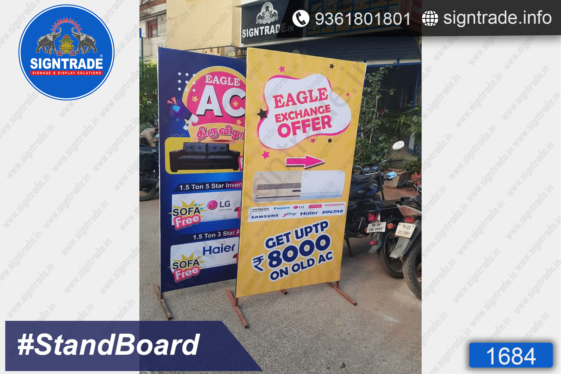 Eagle Electronics, Chennai - SIGNTRADE - Custom Stand Up Flex Board - Digital Printing Services in Chennai