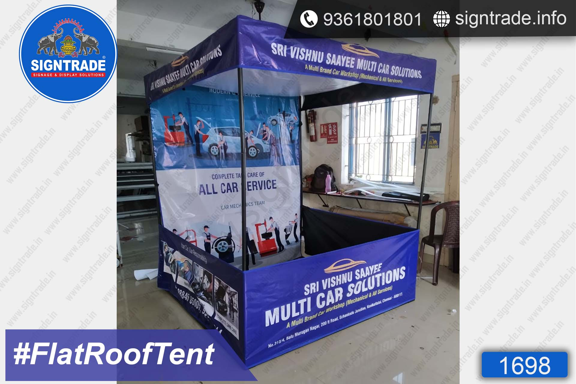 Sri Vishnu Saayee Multi Car Solutions - Canopy Tent - SIGNTRADE - Promotional Canopy Tent Manufacturers in Chennai