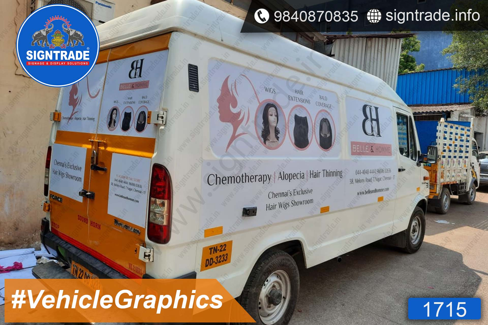 BELLE and HOMME - Hair Wing Showroom, Chennai - SIGNTRADE - Vinyl Printing, Vehicle Graphics Service in Chennai